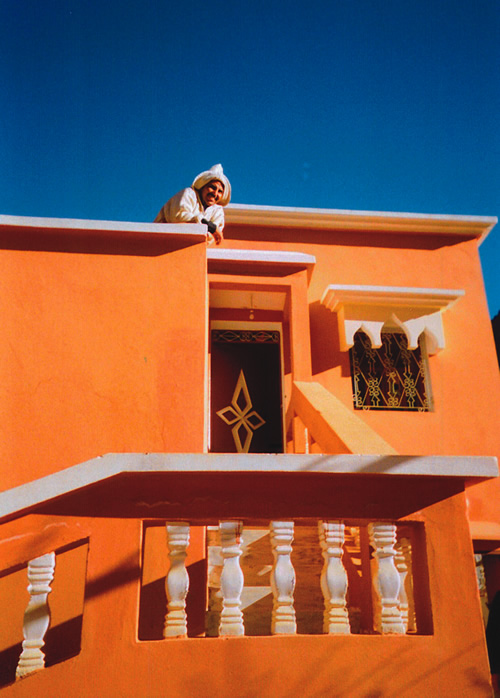 Man on top on patio in Morocco