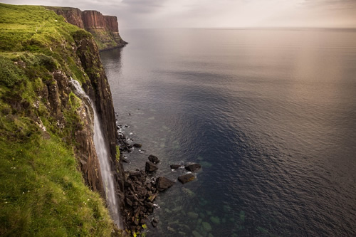 Waterfall into the sea at the Isle of Skye
