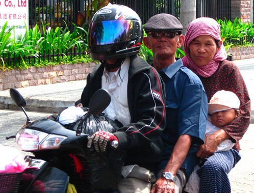 Family on scooter in Cambodia