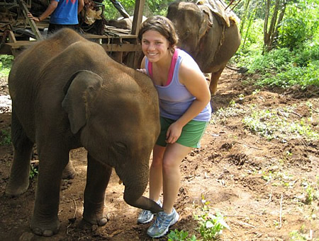 Meeting a baby elephant in Chiang Mai, Thailand
