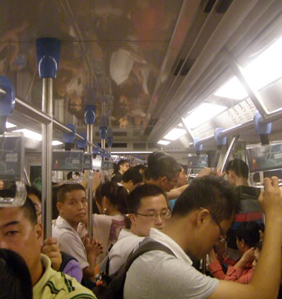 Busy subway in China