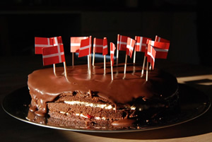 Danish flag on cake.