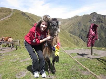 Hanging out with a Llama in Ecuador