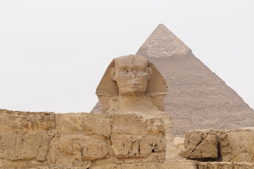 The famous Sphinx near Cairo