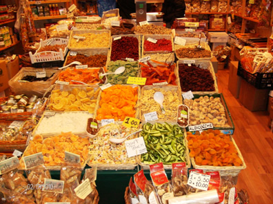 Dried fruits in a Florence market