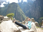 Relaxing at the top of Machu Picchu