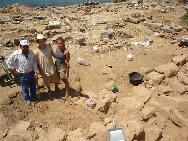 Student volunteering at an archeological dig in Greece