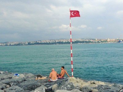 Istanbul along rocky shore