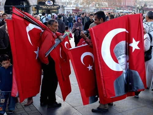 Men with flags in Turkey