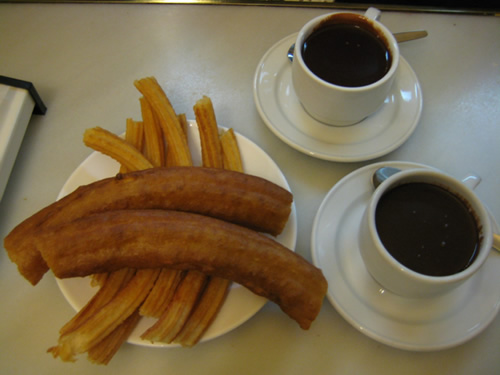 Enjoying churros at San Gines