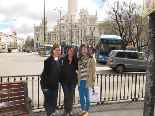 With friends at Plaza de Cibeles in Madrid, Spain