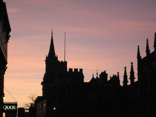Oxford's High Street at sunset