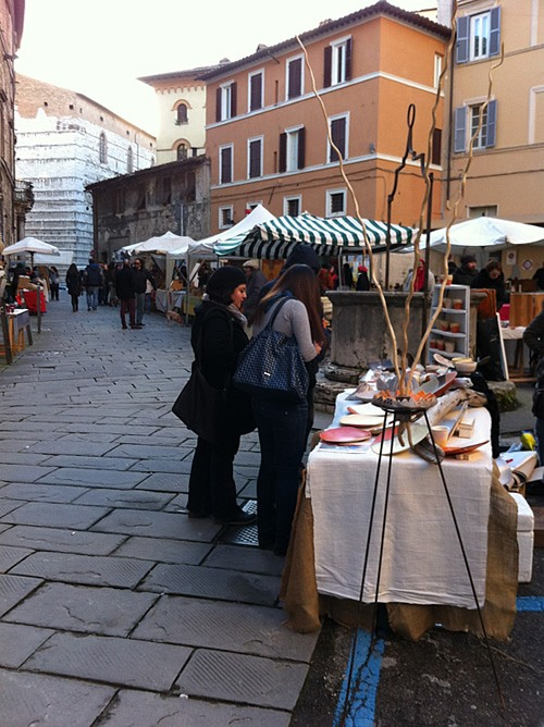 Shopping at market in Perugia