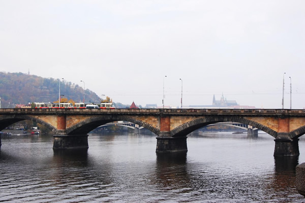 Prague, Czech Republic bridge in the fog