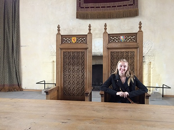 The author sitting in the Great Hall of Stirling Castle, Stirling, Scotland