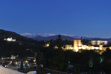 Alhambra and Generalife at night in Granada