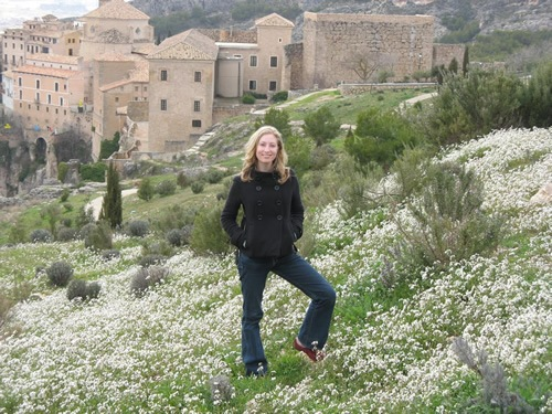 Author in a field of flowers in Cuenca, Spain