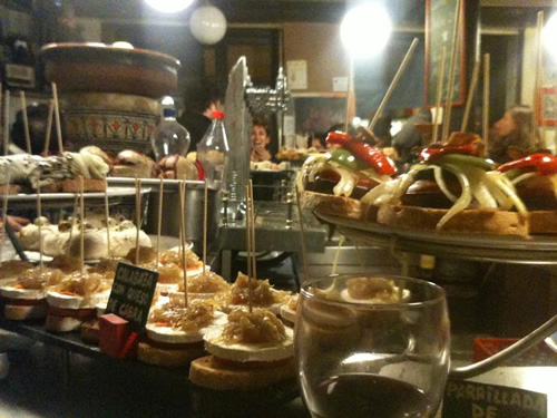 Small tapas or pinchos in a Madrid restaurant