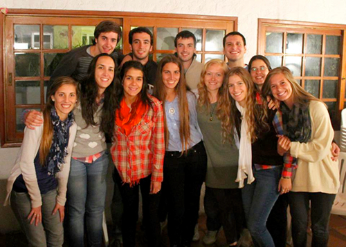 Lindsay with a group of Uruguayan friends