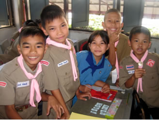 Students in classroom in Thailand